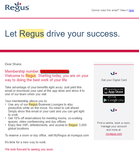regus colocation space